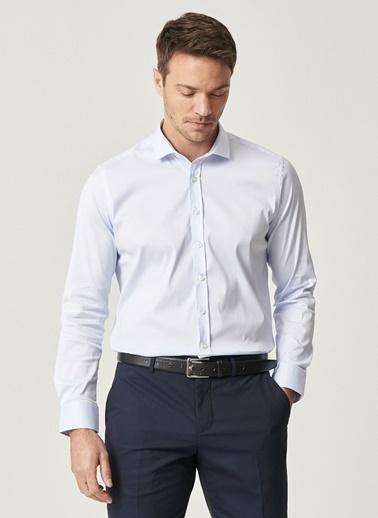 AC&Co / Altınyıldız Classics Tailored Slim Fit Dar Kesim İtalyan Yaka Armürlü Gömlek 4A2021100120 Mavi